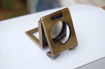 19C. Antique Brass Loupe Folding Magnifying Glass Thread Counter