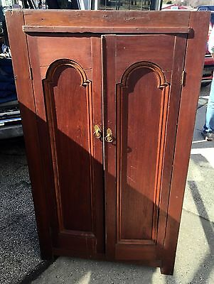 Antique  Bookcase cabinet deep cut arched top  doors 18d35w62h Three board back