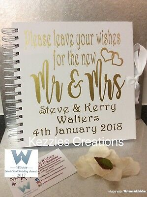 Personalised wedding guest books - leave wishes for new Mr & Mrs - various colou