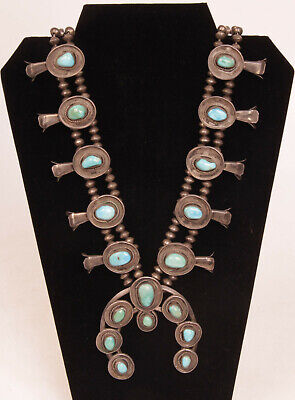"""Navajo Sterling Silver Squash Blossom Turquoise Necklace 32"""""""