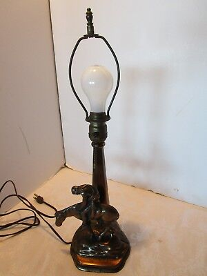 "Antique Cast IRON Metal TABLE LAMP End of The Trail"" Warrior Horse VTG 19½""T"