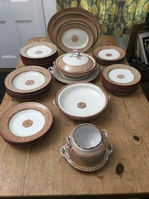 Antique (1864) George Jones Ionia Clay Ware Dinner Service - 46 Piece - Stoke
