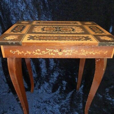 Vintage Antique Style Musical Box Card Table Marquetry Inlay Incrustation