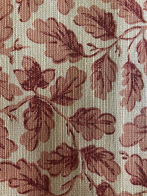 "Bennison ""Enlgish Oakleaf"" Fabric Yardage in Color ""Red on Beige"""