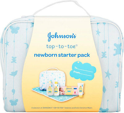 Johnsons Top To Toe newborn starter kit pack gift changing mat wipes bath baby D