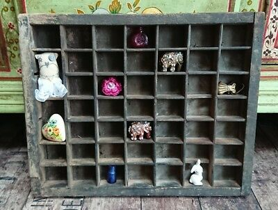 vintage Antique PRINTERS TRAY Old letterpress drawer display small wall display