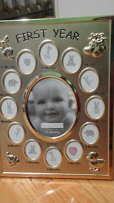 """Malden picture frame"""" First year """" for baby.  Chrome"""