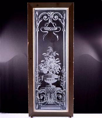 Antique French Etched Glass Window or Door with Flowers in an Urn