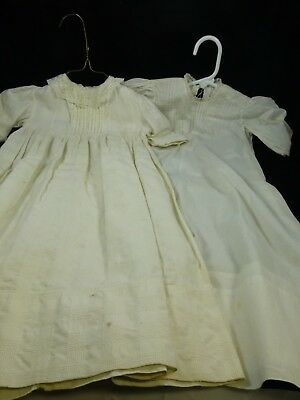 Lot of 2 Vintage Christening Gowns - cotton with Fancy Work and Lace