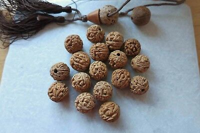 18+ Antique Vintage Chinese Deep Carved Peach Pit Hedaio Lohan Small Men Beads