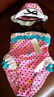 NEW Girl Toddler Swim Suit with Hat, Size 12-24months