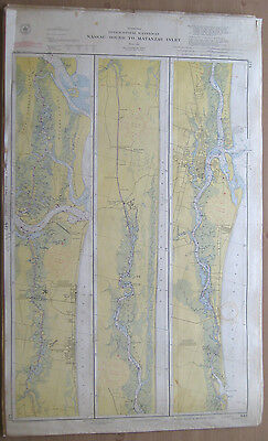 "Vtg 1951 C&GS Nautical CHART #842 INTRACOASTAL WATERWAY FL 24"" x 39"""