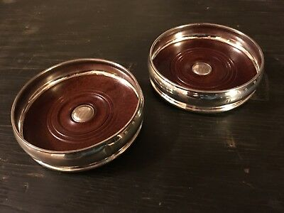 Matching Pair Of Solid Sterling Silver Wine Bottle / Magnum Coasters