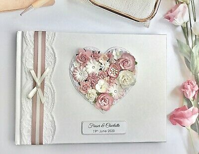 Wedding Guest Book Blush Dusky Pink Personalised Dusk Vintage Lace Floral Heart