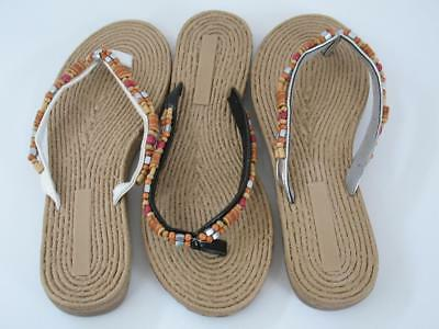 6dff59ae3 NEW Beaded Thong Flip Flops Summer Beach Natural Black White Silver Womens S  5 6