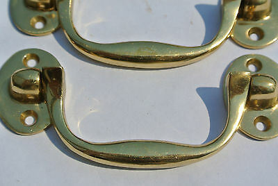 """2 small drawer handles BOX door brass furniture antiques vintage polished 4"""""""
