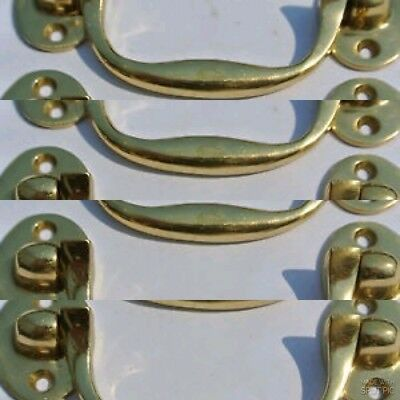 """8 small drawer handles BOX door brass furniture antiques vintage polished 4"""""""