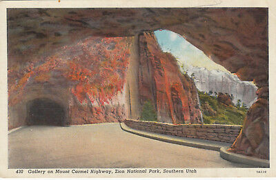 Linen Postcard A875 Gallery on Mount Carmel Highway Zion National Park South UT
