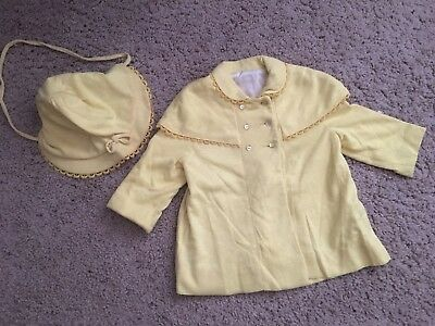 Vtg 50s Swing Coat Matching Bonnet Yellow Saks Fifth Avenue Baby Boutique 24 mth