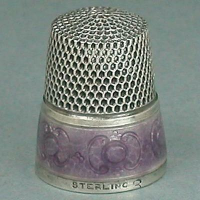 Vintage Enameled Band Sterling Silver Thimble by Simons Bros. * Circa 1920s