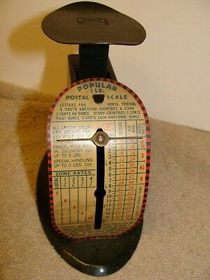 ANTIQUE metal Popular 1 Lb Postal Scale W/LABELS 3 CENTS PER OUNCE VINTAGE OLD