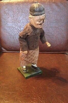 Antique Chinese Composition Character Old Man Doll  TLC Needed