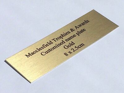 NAME PLATE Gold Various Sizes Customised PREMIUM Quality METAL PLAQUE