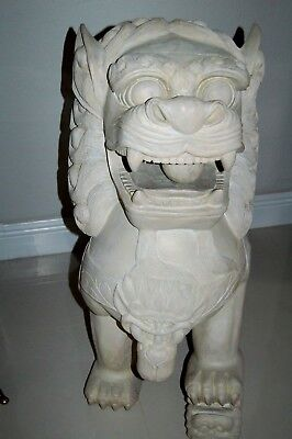 "Huge 36"" Tall Pair Of Hand Carved Wood Foo Dog Lions, Very Heavy & Impressive"