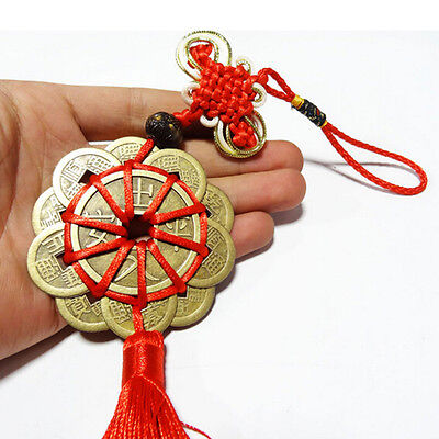 Feng Shui Mystic Knot 10 Chinese Lucky Coins Cures Home Career Health Wealth TH