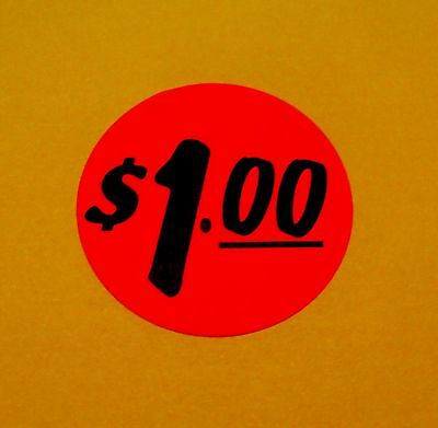 """500 Labels 1.25"""" Round BRIGHT RED $1.00 Retail Price Point Pricing Stickers $1"""