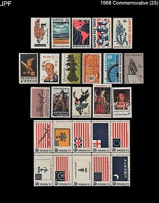 JPF 1968 US Commemorative Year Set, Stamps 1339 - 1364 (25), Mint