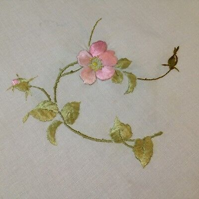 Very Vintage -  Semco Pink Briar Rose Embroidery Sample on Ecru Linen Fabric