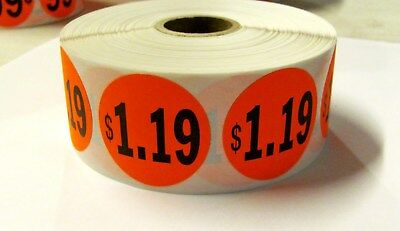 """1000 Bright Red $1.19 Price Point Label Retail Sticker 1 1/2"""" Circle 1.5"""" 1.19"""
