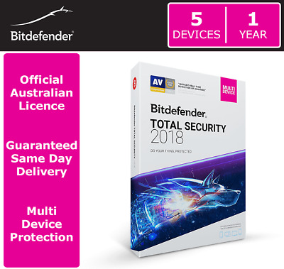 Bitdefender Total Security 2018 - 5 Devices | 1 Year > OFFICIAL AUS LICENCE