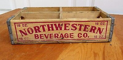 Northwestern Beverage Co. Half-Quarts Soda Crate Chicago Red Lettering Bright!