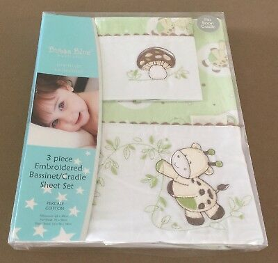 New in Pack BUBBA BLUE Playtime Giraffe 3 Piece Bassinet/Cradle Set - Lime