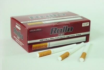 1200 ROLLO RED ULTRA SLIM EMPTY ROLLO TUBE Cigarette Tobacco Rolling Roll Filter