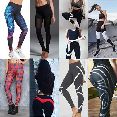 US Women Sports Pants High Waist Yoga Fitness Leggings Running Stretch Trousers