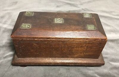 Handmade Antique Japanese Wood Box With Inlaid Dice On Lid
