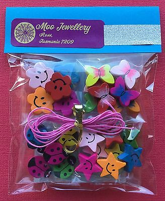 Kids Wooden Bead Craft Kit Large Beads Elastic Jewellery Making - Aussie Seller!
