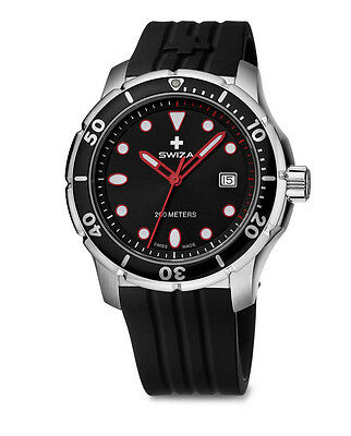 Swiza Swiss Made Model Thetis Man In Steel And Rubber Gent Wat.0461.1003