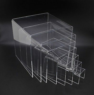 Fixture Displays Clear Plexiglass Lucite Acrylic Display Risers - Set of 7 -
