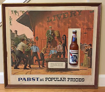 Vintage PABST Blue Ribbon At Popular Prices 3D Beer Bottle Pub Man Cave Bar Sign