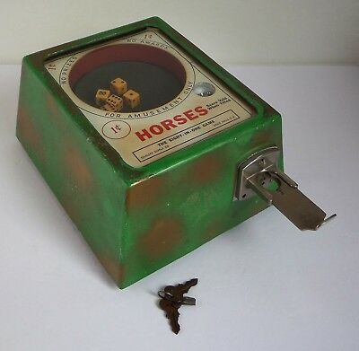 VTG Quality Supply Co HORSES Coin Operated Counter DICE Game Trade Stimulator