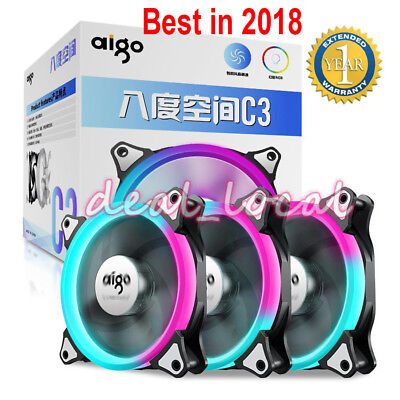 Aigo C3 Computer Case Cooler RGB Fan 120mm Silent Light Speed Adjustable