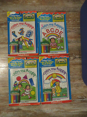 Vintage 1984 Fisher Price Color Me Happy Book Cassette Tape Lot of 4 Crayons