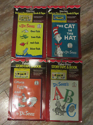 Vintage 1984 Fisher Price Dr. Seuss Story Book Cassette Tape Lot Cat in the Hat