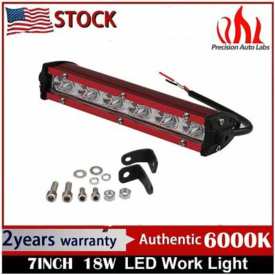 7inch Spot LED Red offroad Bar Light Fog Driving Lamp Slim Single Row Jeep SUV