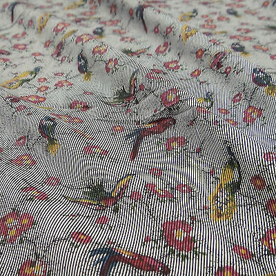 "Bird Printed White Cotton Indian Designer 41"" Sewing Fabric By The Yard"