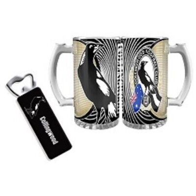 Collingwood Magpies Gift Pack Stein Glass Magnetic Bottle Opener Official AFL